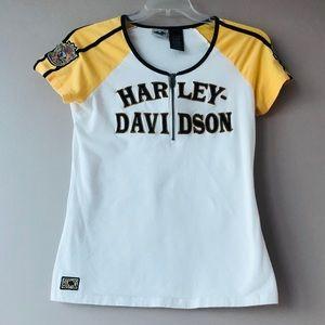 Harley Davidson White/Yellow Top Size Medium